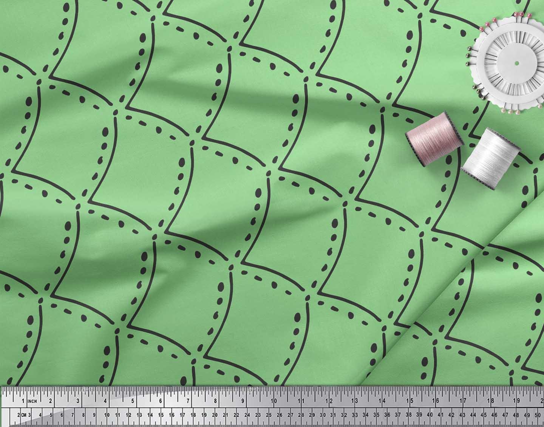 Soimoi-Green-Cotton-Poplin-Fabric-Tendril-amp-Abstract-Decor-Fabric-39U thumbnail 3