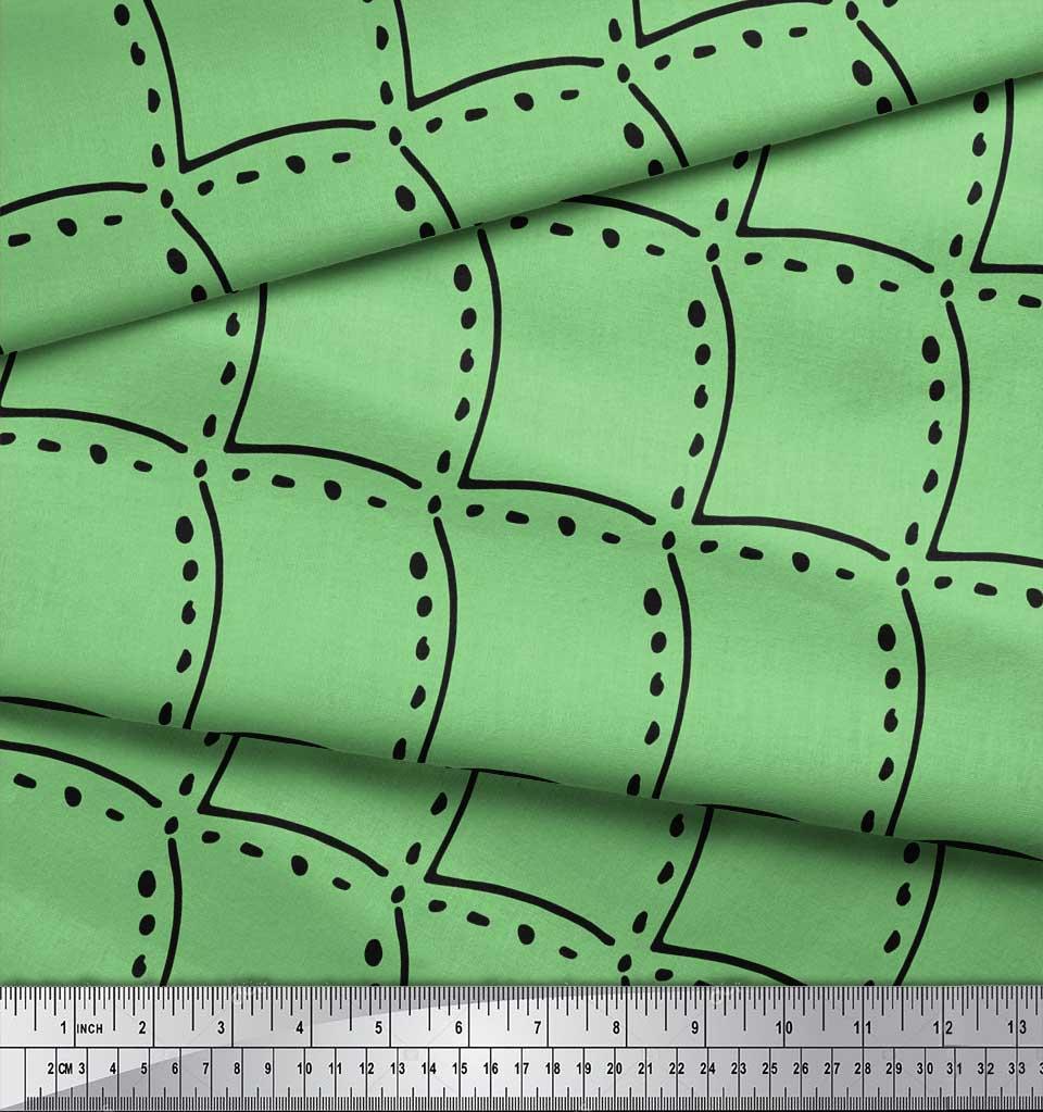 Soimoi-Green-Cotton-Poplin-Fabric-Tendril-amp-Abstract-Decor-Fabric-39U thumbnail 4