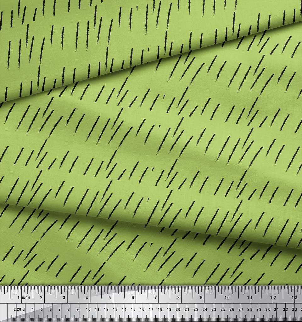 Soimoi-Green-Cotton-Poplin-Fabric-Brush-Stroke-Abstract-Decor-Fabric-DZb thumbnail 3