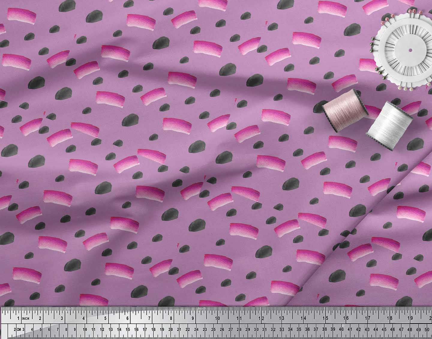 Soimoi-Purple-Cotton-Poplin-Fabric-Brush-Stroke-Abstract-Printed-0EY thumbnail 3