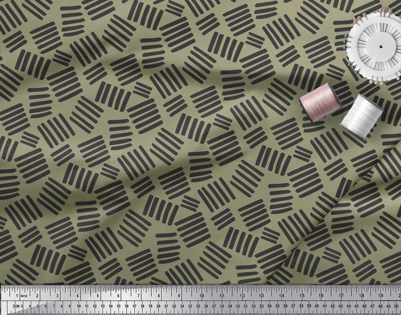Soimoi-Green-Cotton-Poplin-Fabric-Brush-Stroke-Abstract-Fabric-Prints-DVy thumbnail 3