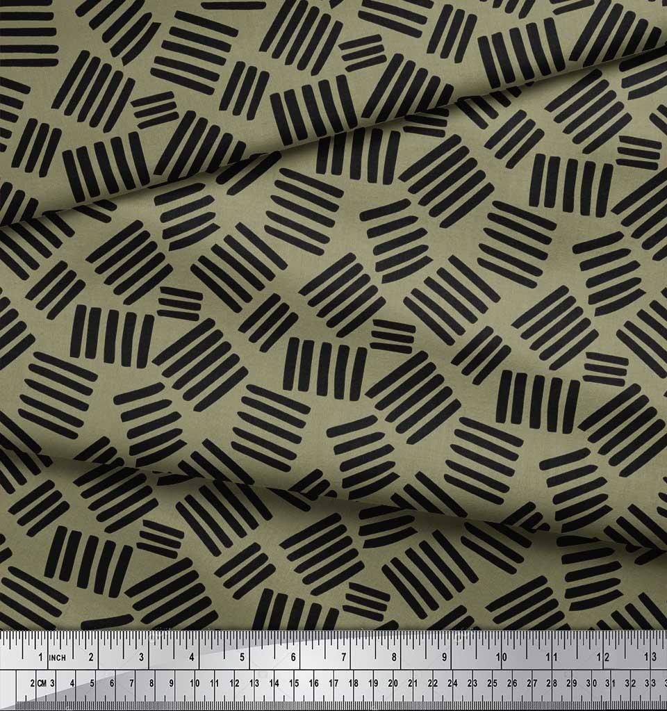 Soimoi-Green-Cotton-Poplin-Fabric-Brush-Stroke-Abstract-Fabric-Prints-DVy thumbnail 4