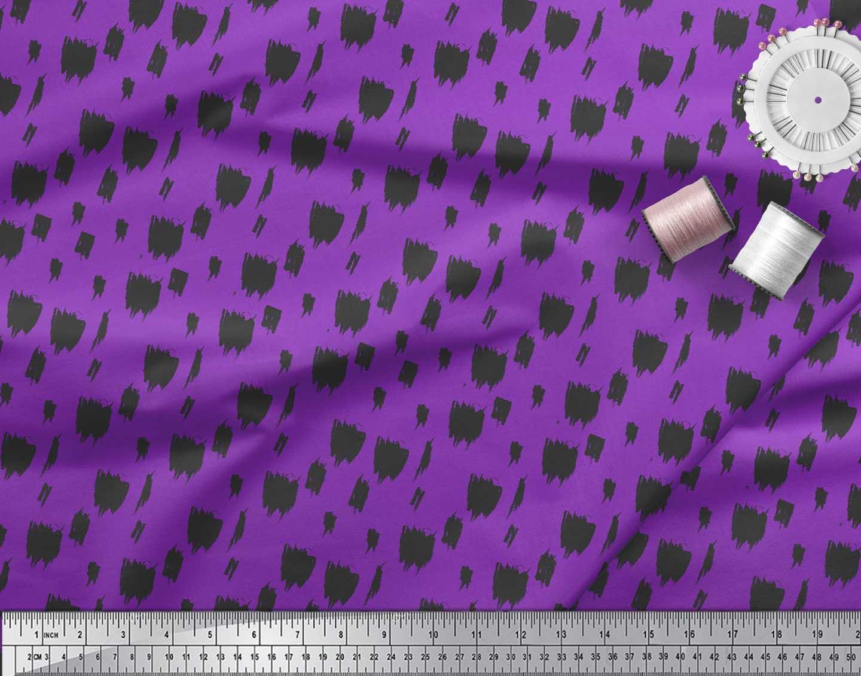 Soimoi-Purple-Cotton-Poplin-Fabric-Brush-Stroke-Abstract-Decor-Fabric-0PW thumbnail 3