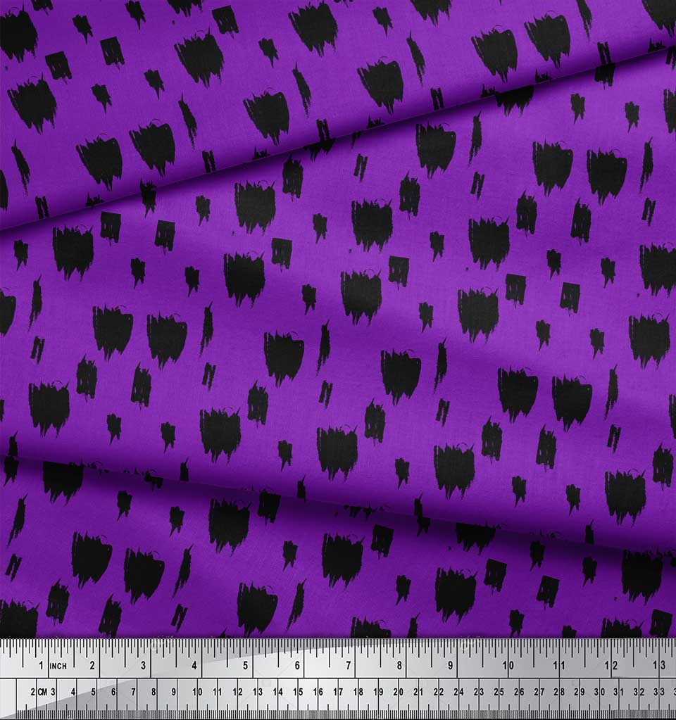 Soimoi-Purple-Cotton-Poplin-Fabric-Brush-Stroke-Abstract-Decor-Fabric-0PW thumbnail 4