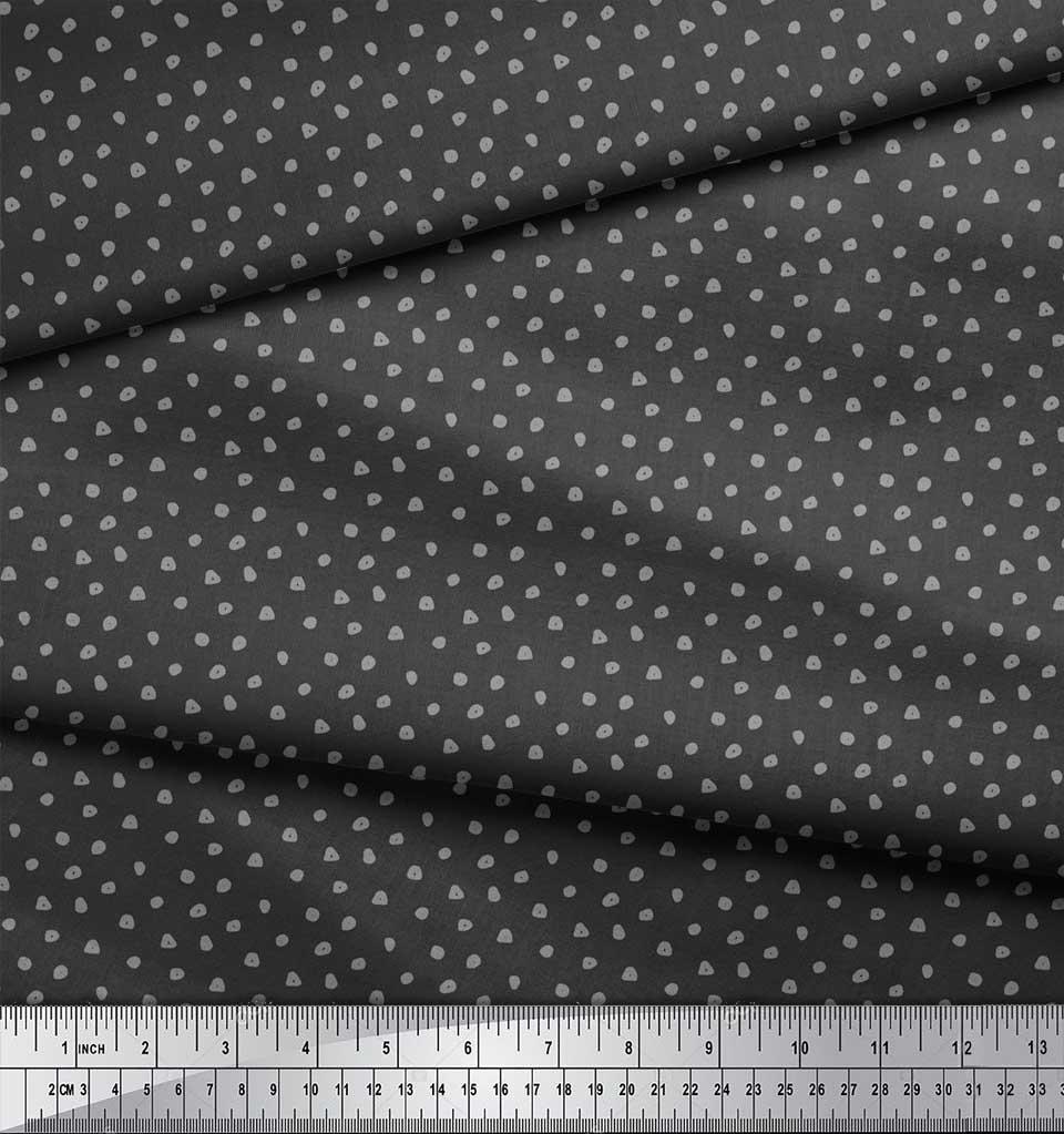 Soimoi-Gray-Cotton-Poplin-Fabric-Brush-Stroke-Abstract-Print-Fabric-VzC thumbnail 3