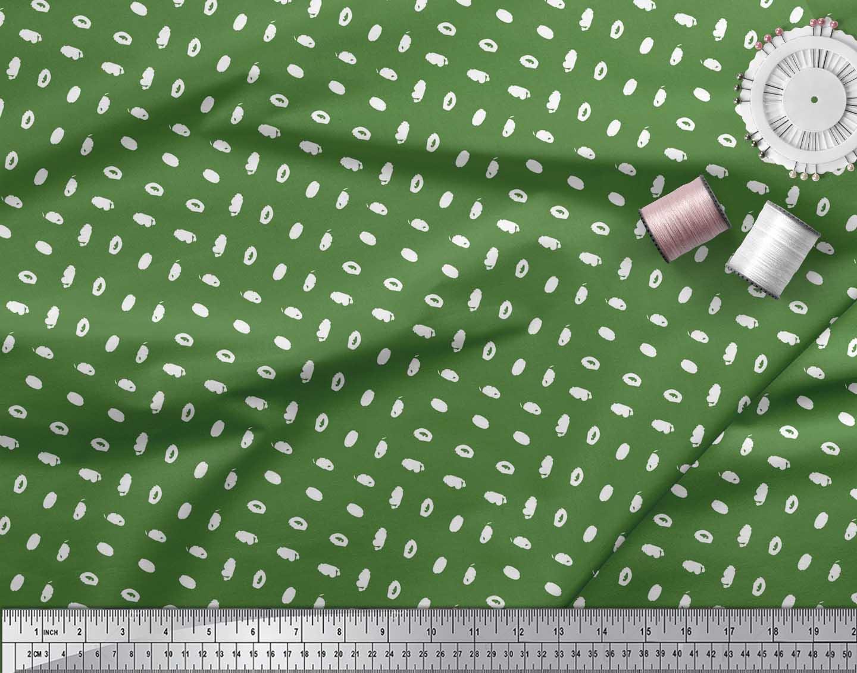 Soimoi-Green-Cotton-Poplin-Fabric-Brush-Stroke-Abstract-Decor-Fabric-Sz5 thumbnail 4