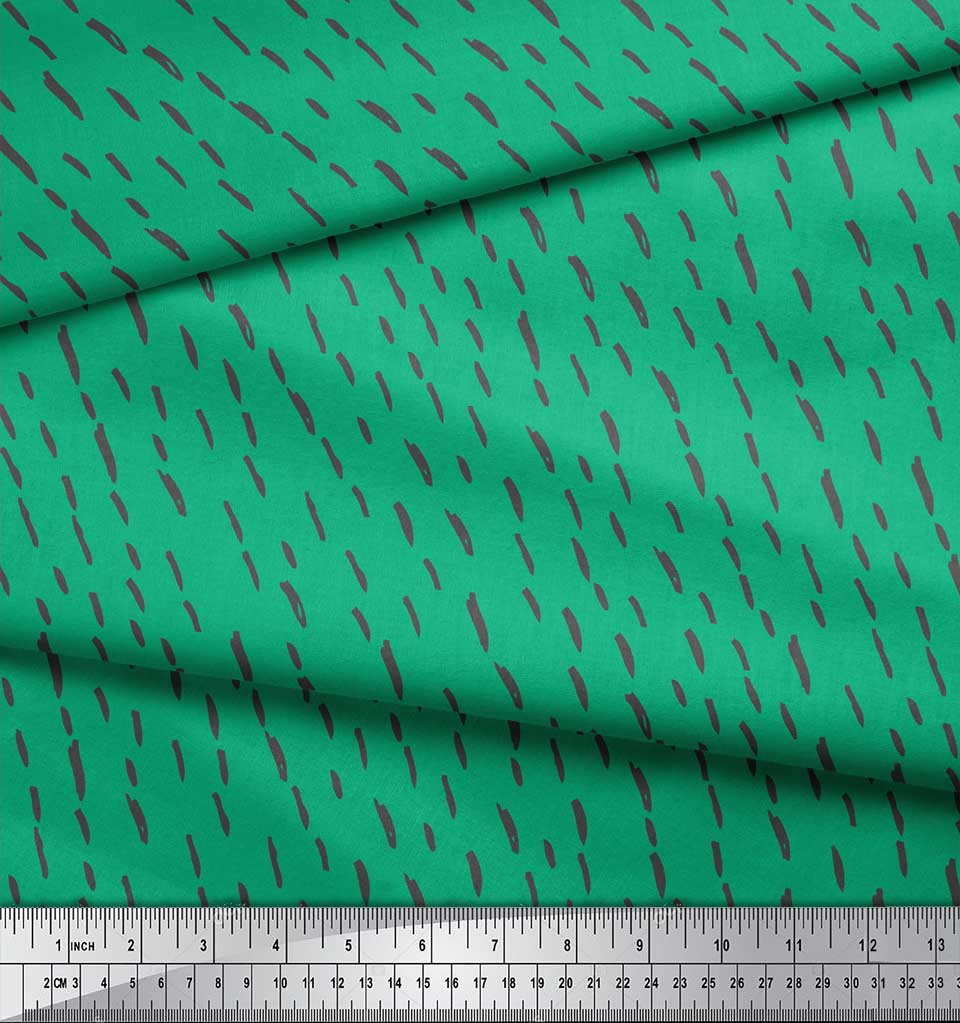 Soimoi-Green-Cotton-Poplin-Fabric-Brush-Stroke-Abstract-Printed-BRO thumbnail 3