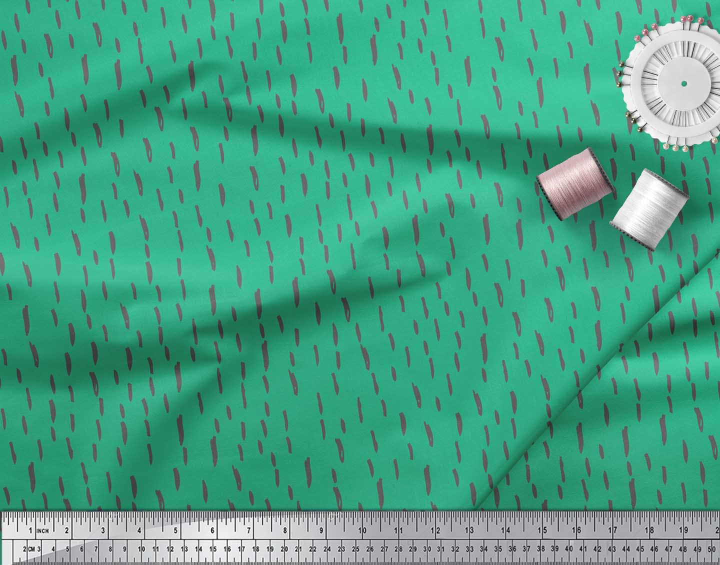 Soimoi-Green-Cotton-Poplin-Fabric-Brush-Stroke-Abstract-Printed-BRO thumbnail 4
