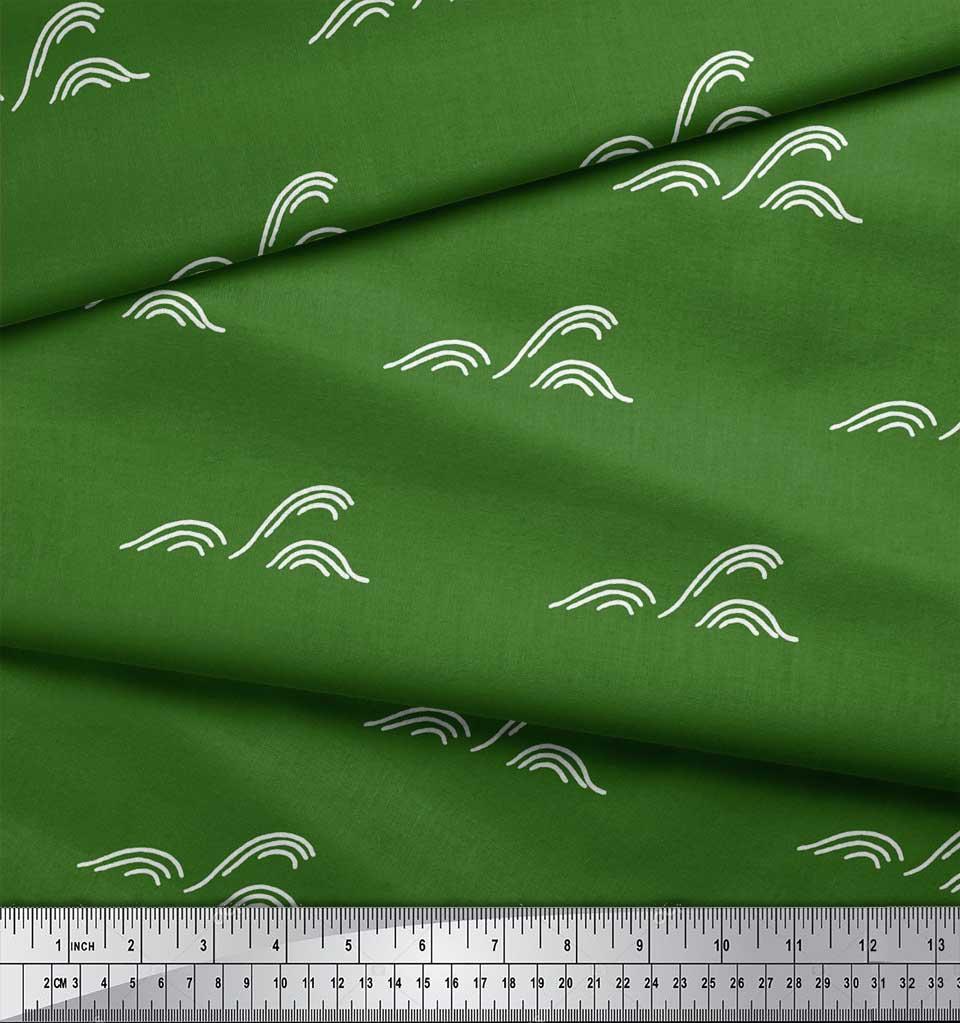 Soimoi-Green-Cotton-Poplin-Fabric-Artistic-Waves-Abstract-Decor-Rgk thumbnail 3