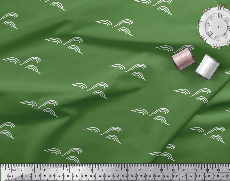 Soimoi-Green-Cotton-Poplin-Fabric-Artistic-Waves-Abstract-Decor-Rgk thumbnail 4