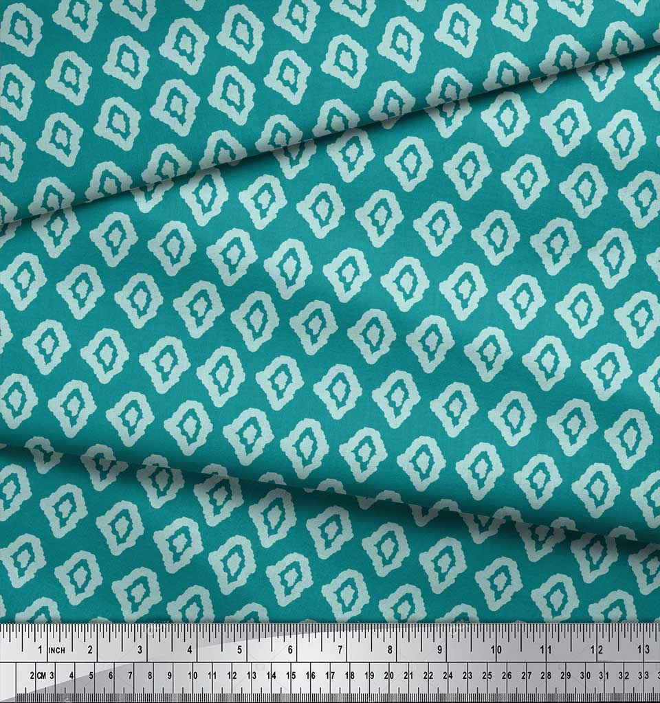 Soimoi-Green-Cotton-Poplin-Fabric-Abstracts-Abstract-Print-Fabric-e2U thumbnail 3