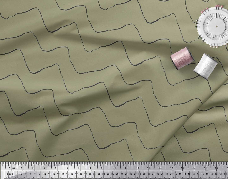 Soimoi-Green-Cotton-Poplin-Fabric-Artistic-Waves-Abstract-Fabric-QHk thumbnail 3