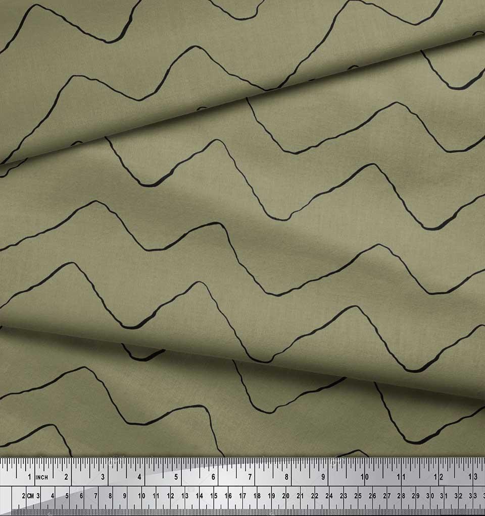 Soimoi-Green-Cotton-Poplin-Fabric-Artistic-Waves-Abstract-Fabric-QHk thumbnail 4