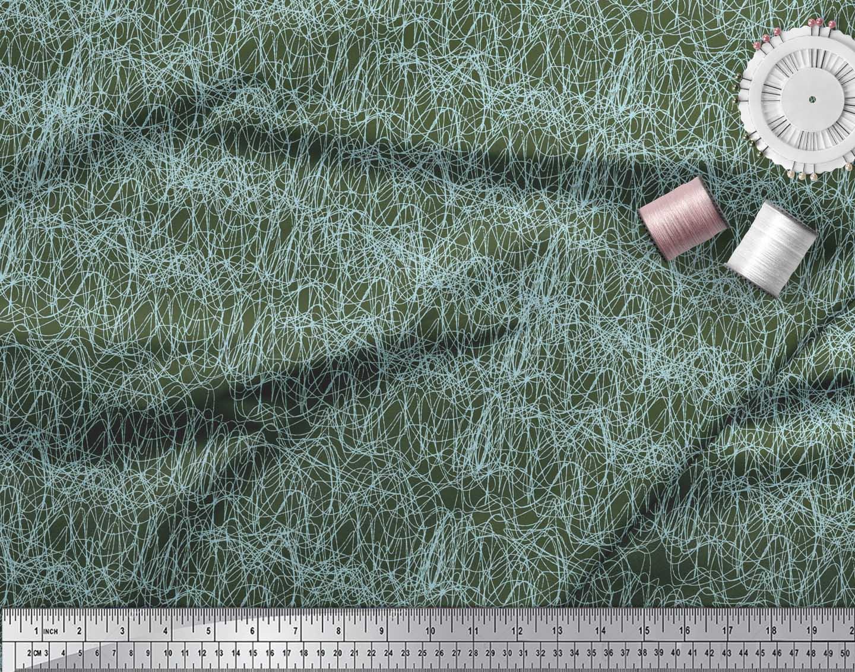 Soimoi-Green-Cotton-Poplin-Fabric-Brush-Stroke-Abstract-Decor-Fabric-CTc thumbnail 4