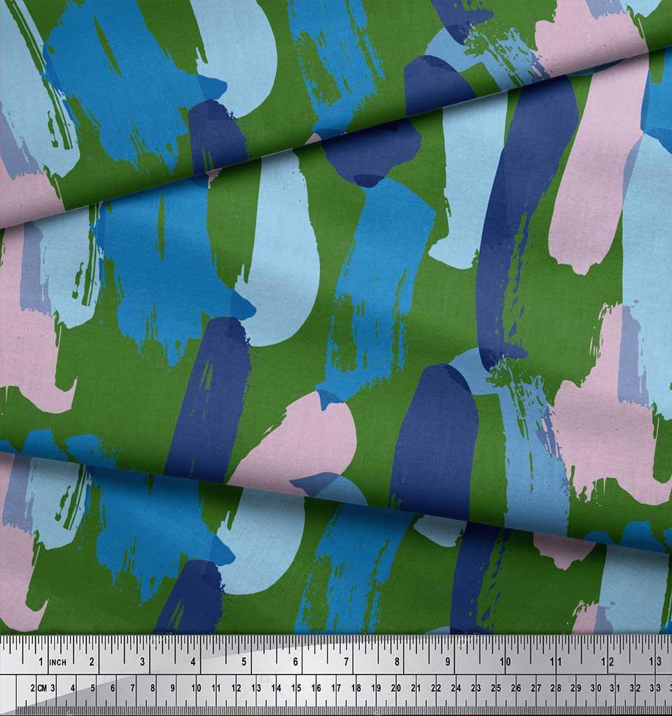 Soimoi-Green-Cotton-Poplin-Fabric-Abstracts-Abstract-Fabric-Prints-KjZ thumbnail 3