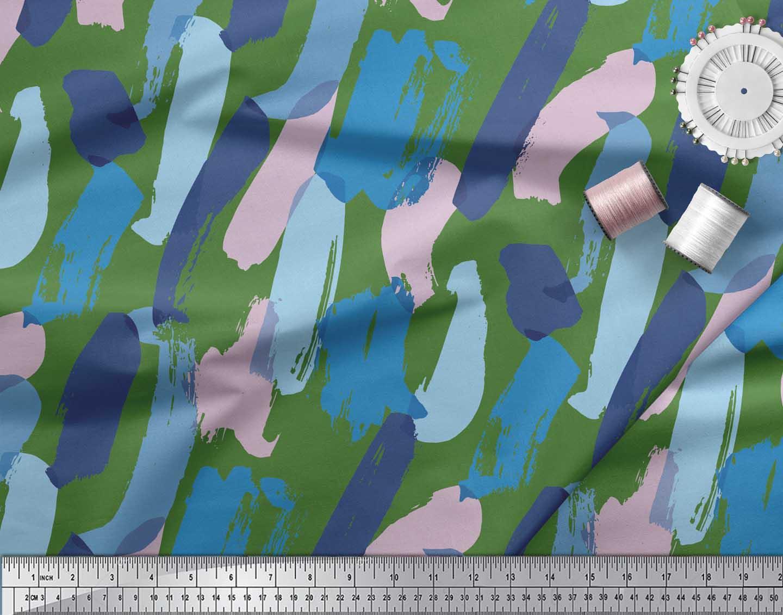 Soimoi-Green-Cotton-Poplin-Fabric-Abstracts-Abstract-Fabric-Prints-KjZ thumbnail 4