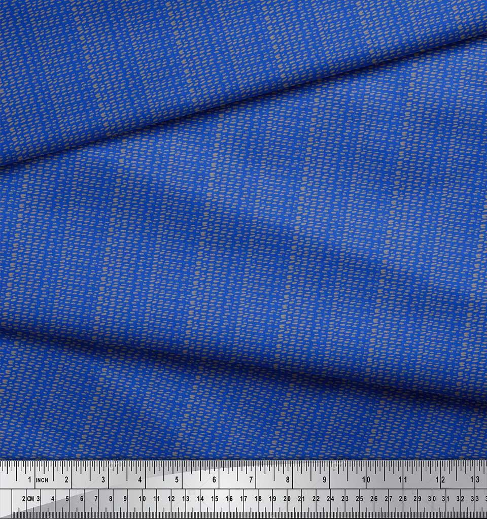 Soimoi-Blue-Cotton-Poplin-Fabric-Brush-Stroke-Abstract-Print-Fabric-zcU thumbnail 3