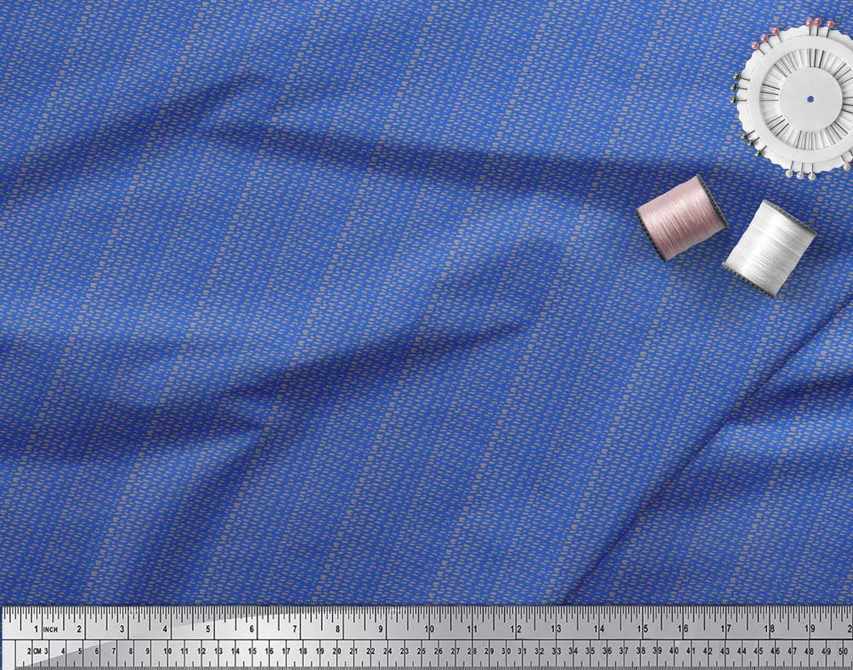 Soimoi-Blue-Cotton-Poplin-Fabric-Brush-Stroke-Abstract-Print-Fabric-zcU thumbnail 4