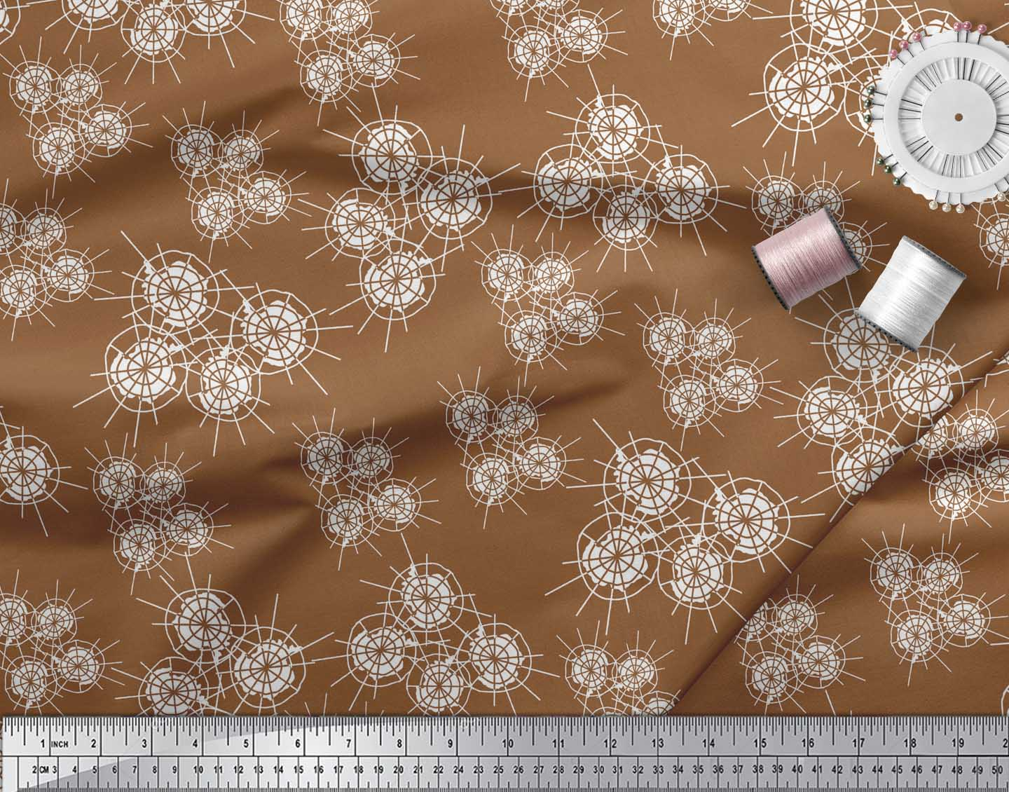 Soimoi-Brown-Cotton-Poplin-Fabric-Abstracts-Abstract-Print-Fabric-fJM thumbnail 4