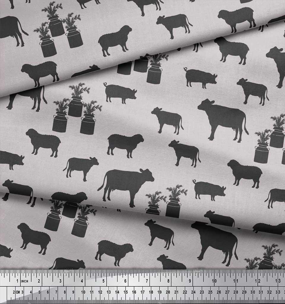 Soimoi-Gray-Cotton-Poplin-Fabric-Stencil-Cow-amp-Pig-Animal-Print-OE3 thumbnail 3