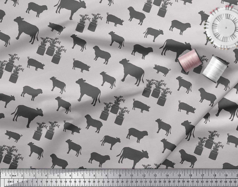 Soimoi-Gray-Cotton-Poplin-Fabric-Stencil-Cow-amp-Pig-Animal-Print-OE3 thumbnail 4