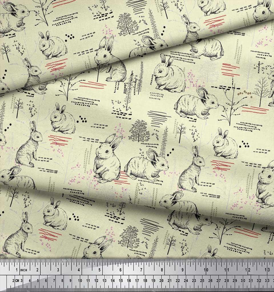 Soimoi-Yellow-Cotton-Poplin-Fabric-Abstract-amp-Rabbit-Animal-Fabric-QBi thumbnail 3
