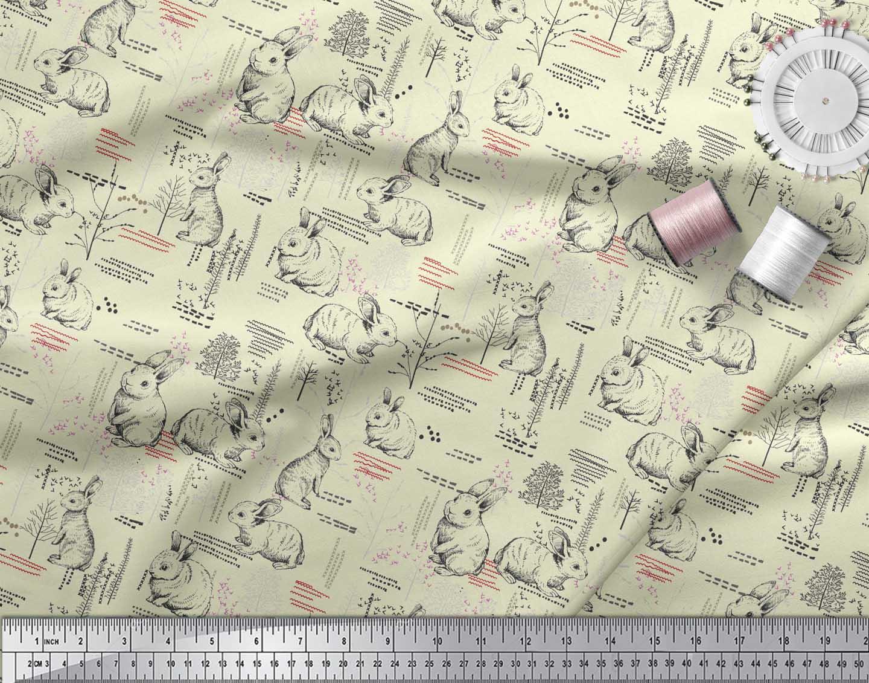 Soimoi-Yellow-Cotton-Poplin-Fabric-Abstract-amp-Rabbit-Animal-Fabric-QBi thumbnail 4