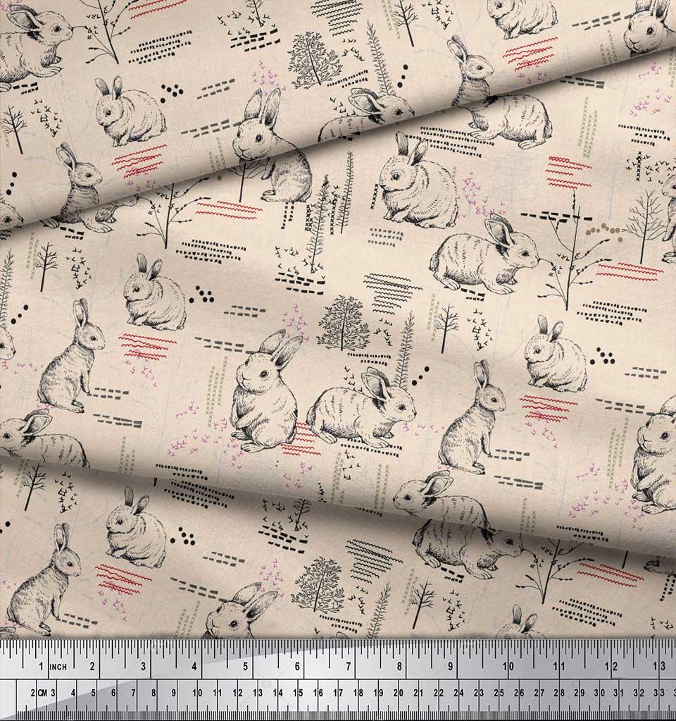 Soimoi-White-Cotton-Poplin-Fabric-Abstract-amp-Rabbit-Animal-Print-fNm thumbnail 3