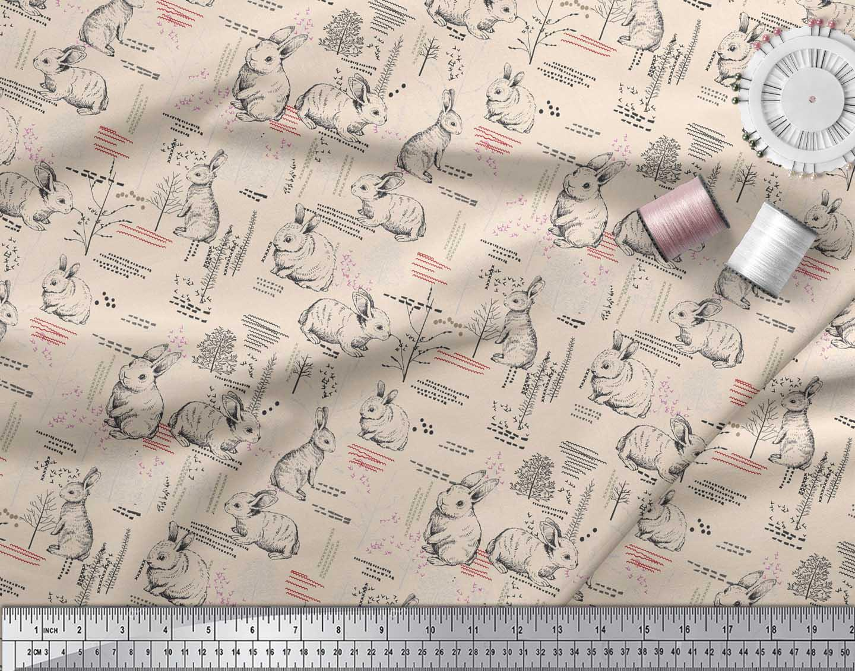 Soimoi-White-Cotton-Poplin-Fabric-Abstract-amp-Rabbit-Animal-Print-fNm thumbnail 4