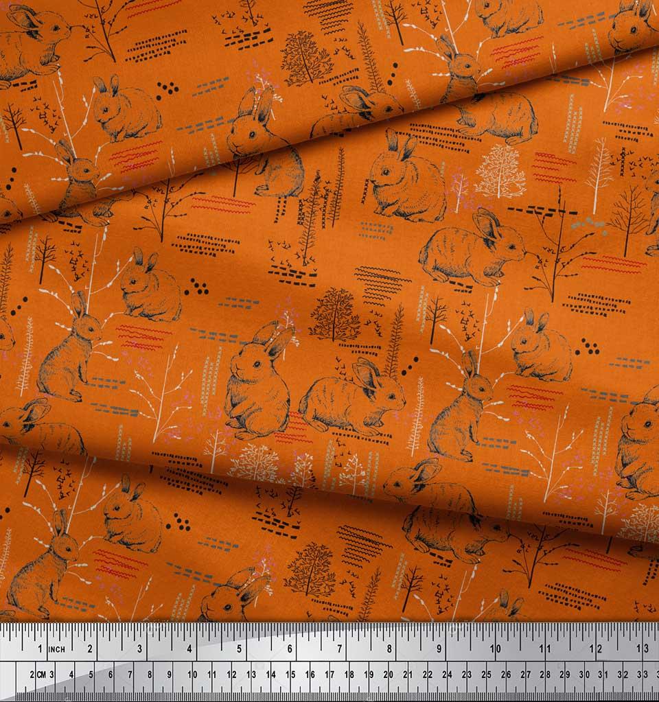 Soimoi-Orange-Cotton-Poplin-Fabric-Abstract-amp-Rabbit-Animal-Print-dUx thumbnail 3
