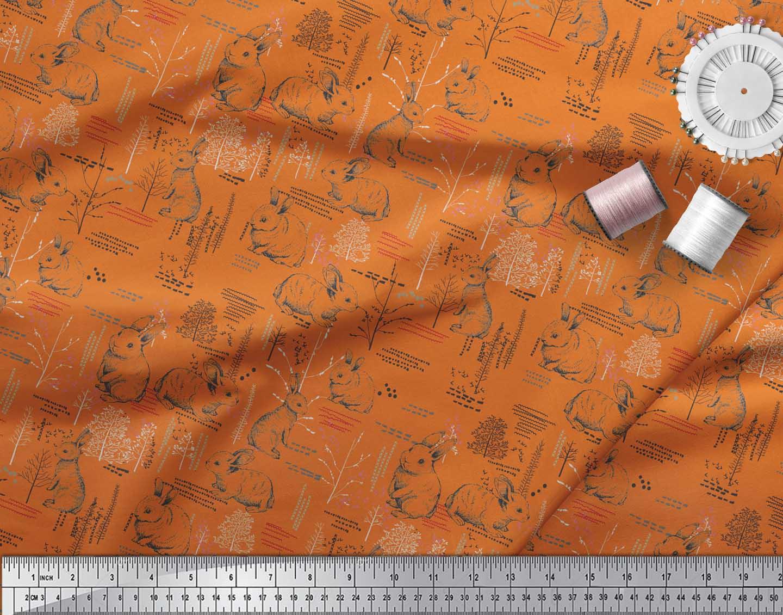 Soimoi-Orange-Cotton-Poplin-Fabric-Abstract-amp-Rabbit-Animal-Print-dUx thumbnail 4