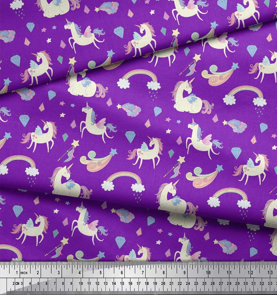 Soimoi-Purple-Cotton-Poplin-Fabric-Rainbow-amp-Unicorn-Animal-Print-uh7 thumbnail 4