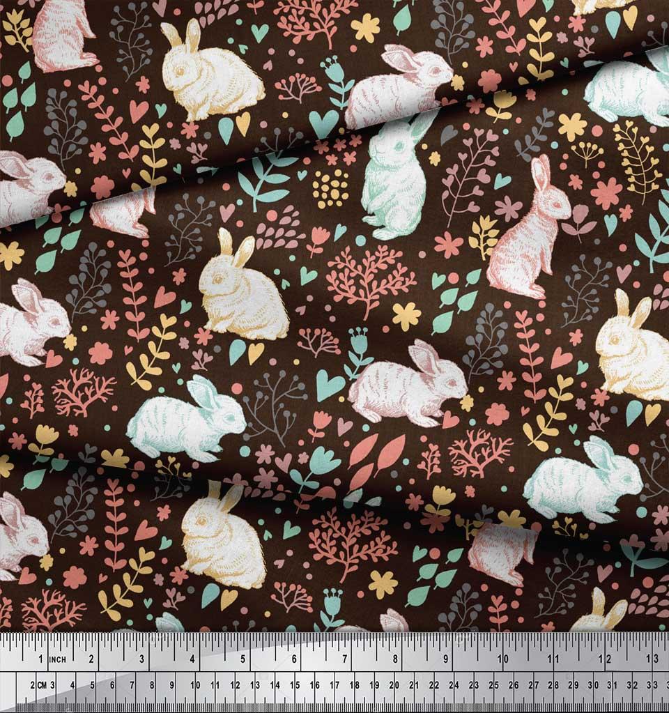 Soimoi-Brown-Cotton-Poplin-Fabric-Leaves-amp-Rabbit-Animal-Fabric-o8M thumbnail 3