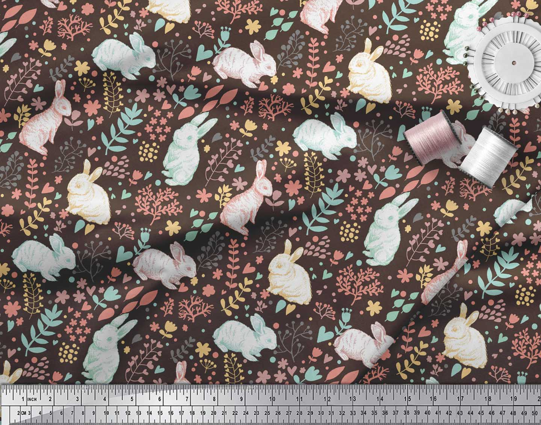 Soimoi-Brown-Cotton-Poplin-Fabric-Leaves-amp-Rabbit-Animal-Fabric-o8M thumbnail 4