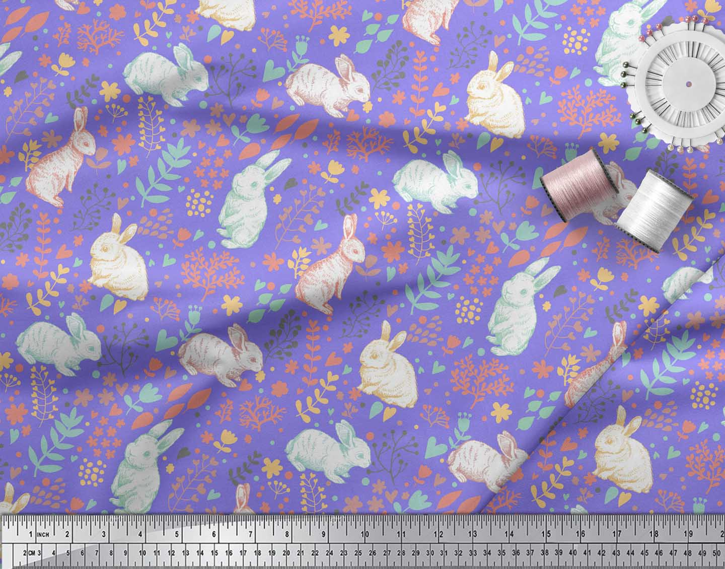 Soimoi-Purple-Cotton-Poplin-Fabric-Leaves-amp-Rabbit-Animal-Decor-v5d thumbnail 4