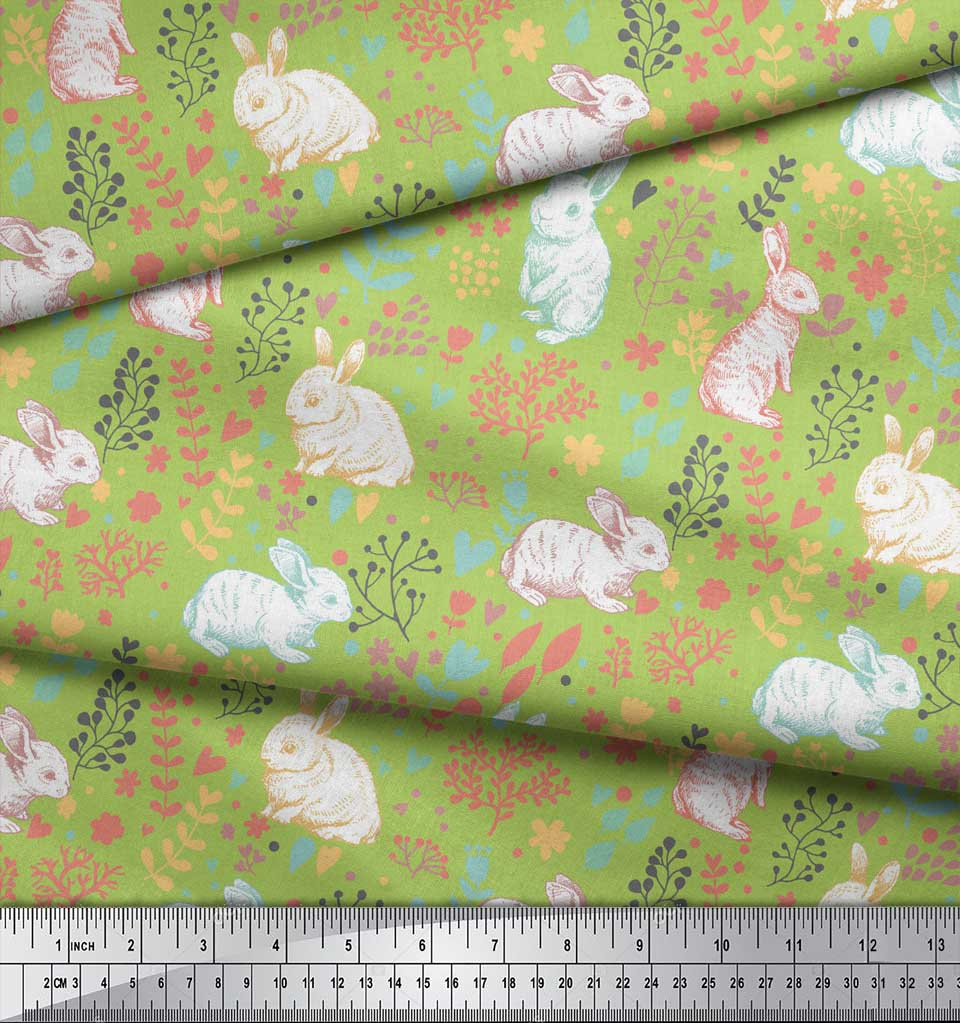 Soimoi-Green-Cotton-Poplin-Fabric-Leaves-amp-Rabbit-Animal-Print-Fabric-Y2W thumbnail 3