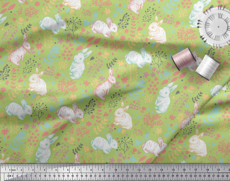 Soimoi-Green-Cotton-Poplin-Fabric-Leaves-amp-Rabbit-Animal-Print-Fabric-Y2W thumbnail 4