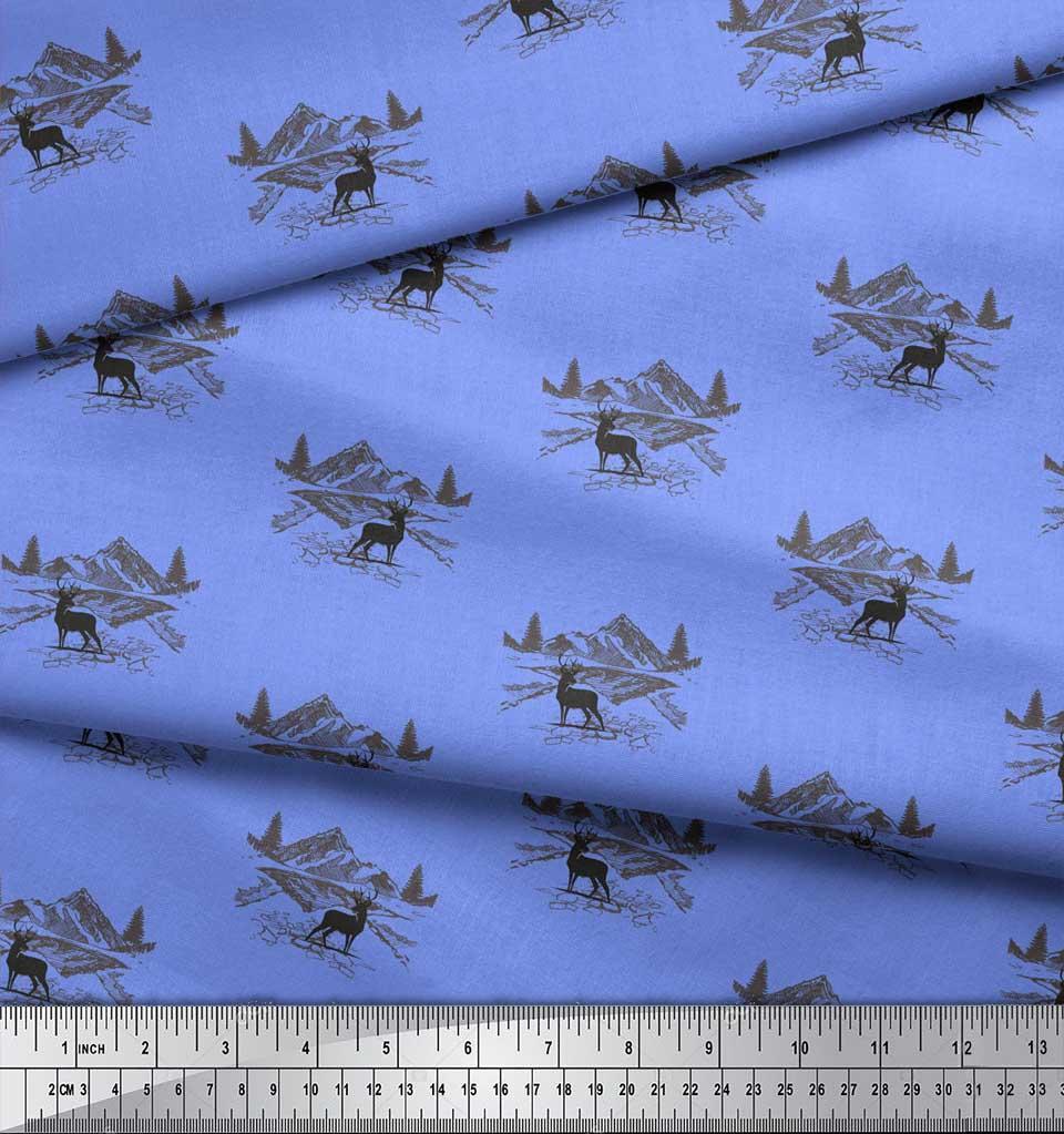 Soimoi-Blue-Cotton-Poplin-Fabric-Landscape-amp-Reindeer-Animal-Fabric-qK0 thumbnail 3