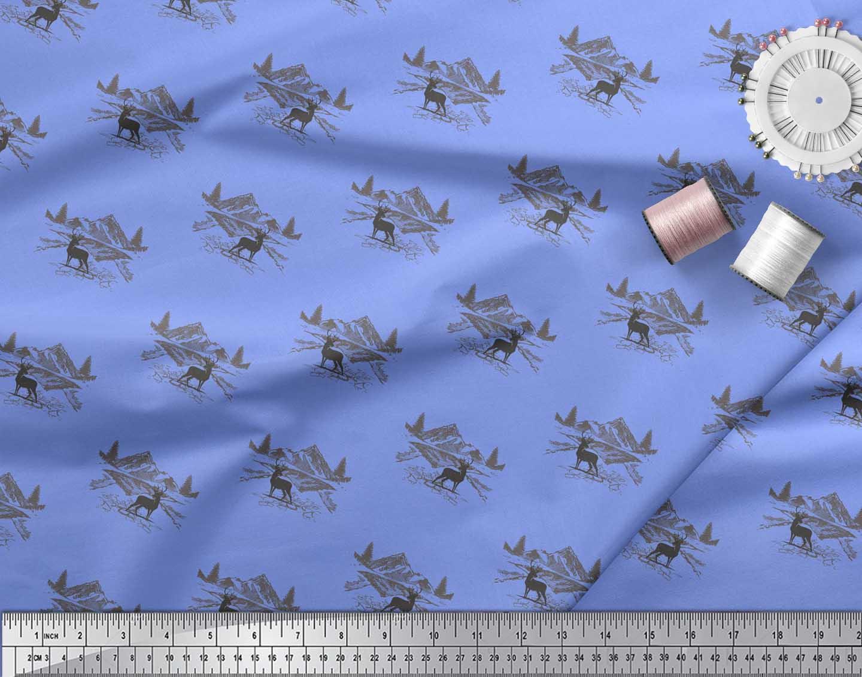 Soimoi-Blue-Cotton-Poplin-Fabric-Landscape-amp-Reindeer-Animal-Fabric-qK0 thumbnail 4