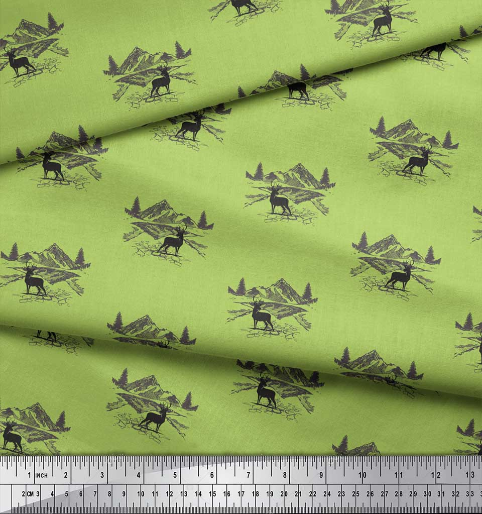 Soimoi-Green-Cotton-Poplin-Fabric-Landscape-amp-Reindeer-Animal-Fabric-FhZ thumbnail 4