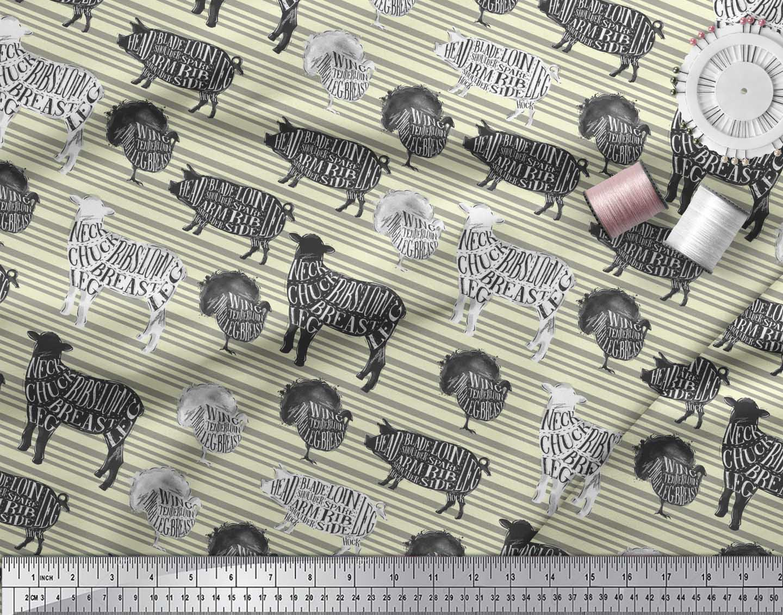 Soimoi-Yellow-Cotton-Poplin-Fabric-Stencil-Cow-amp-Pig-Animal-Printed-M6w thumbnail 3