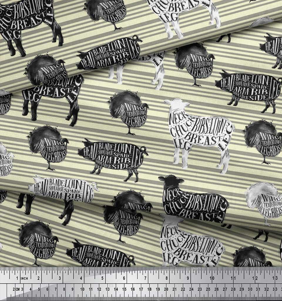 Soimoi-Yellow-Cotton-Poplin-Fabric-Stencil-Cow-amp-Pig-Animal-Printed-M6w thumbnail 4