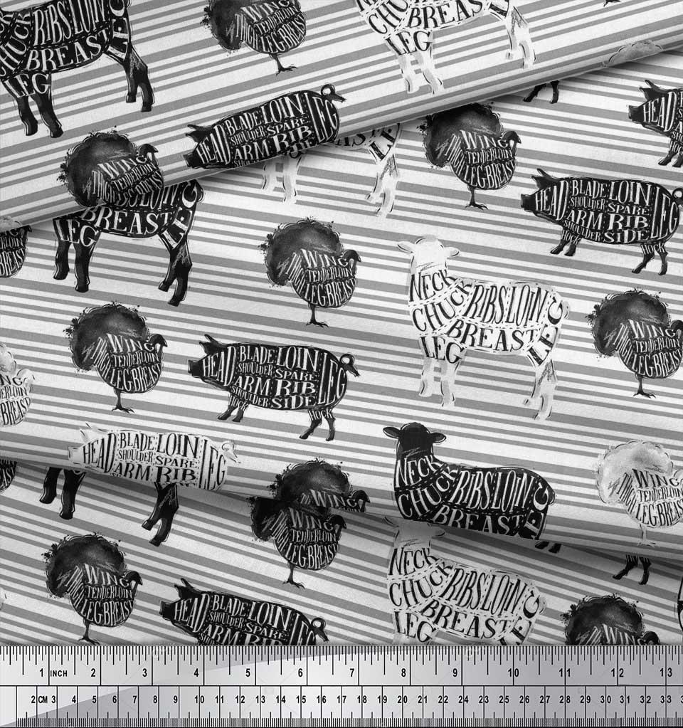Soimoi-White-Cotton-Poplin-Fabric-Stencil-Cow-amp-Pig-Animal-Print-iS5 thumbnail 3