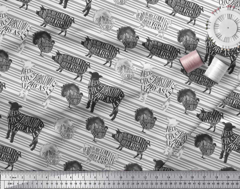 Soimoi-White-Cotton-Poplin-Fabric-Stencil-Cow-amp-Pig-Animal-Print-iS5 thumbnail 4