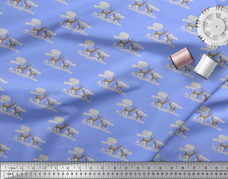 Soimoi-Blue-Cotton-Poplin-Fabric-Landscape-amp-Reindeer-Animal-Printed-ESD thumbnail 3