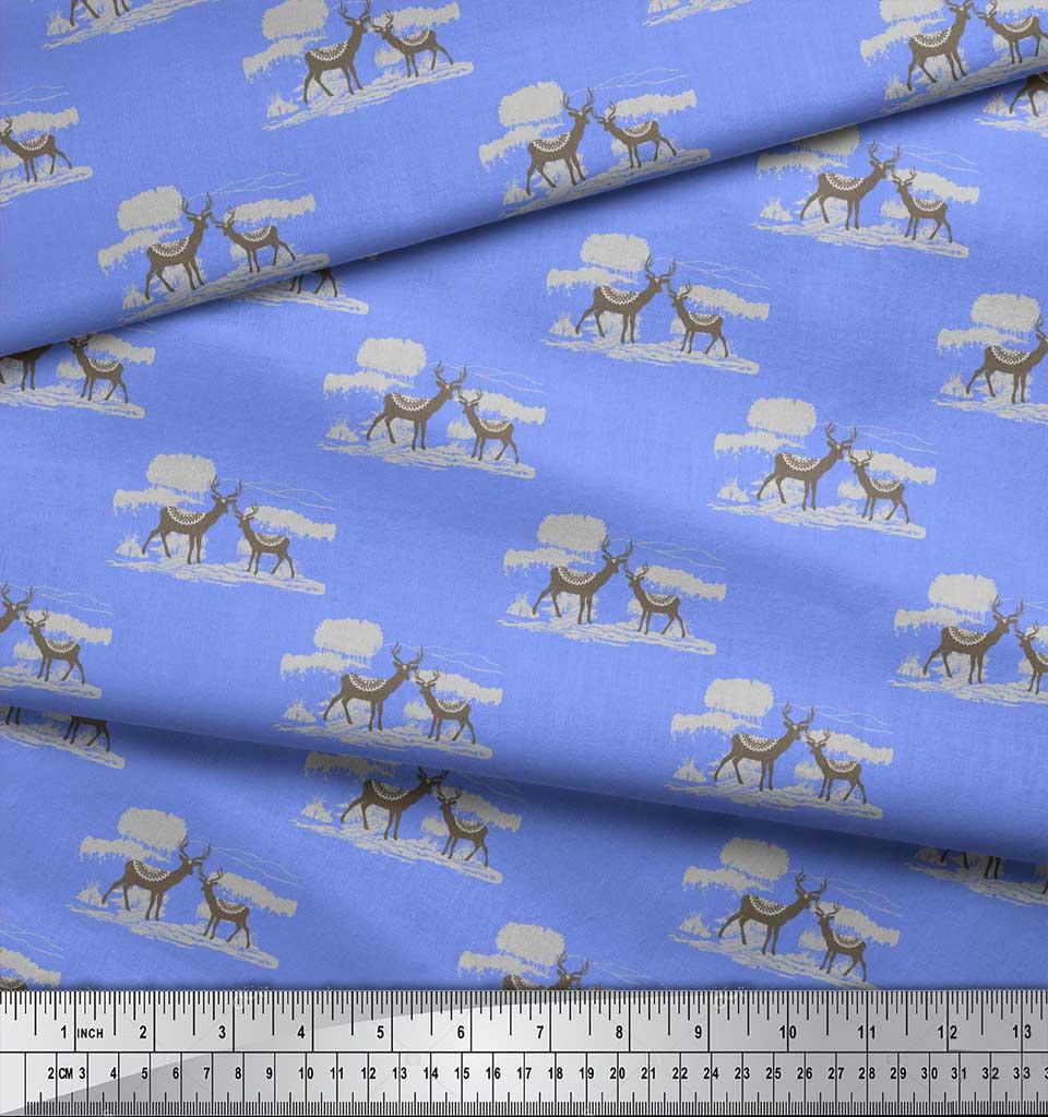 Soimoi-Blue-Cotton-Poplin-Fabric-Landscape-amp-Reindeer-Animal-Printed-ESD thumbnail 4