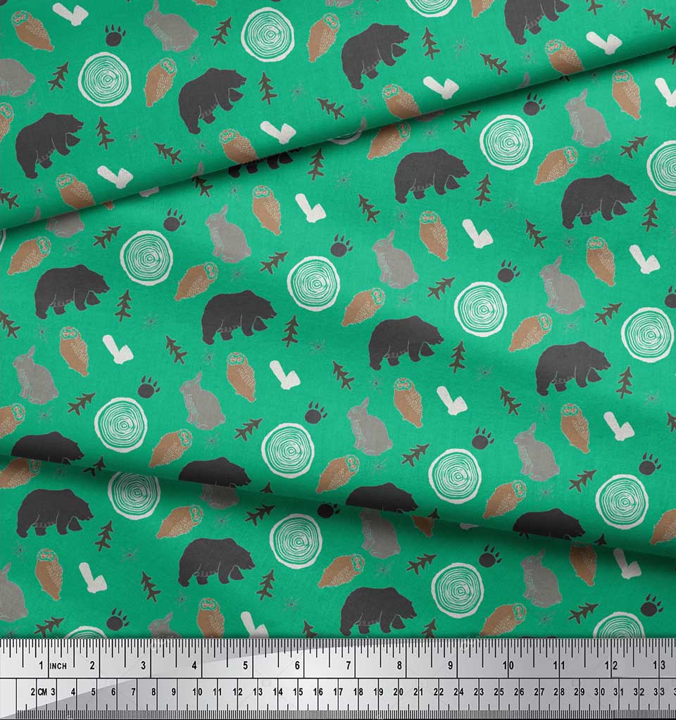 Soimoi-Green-Cotton-Poplin-Fabric-Wild-Life-Animal-Decor-Fabric-yOV thumbnail 3