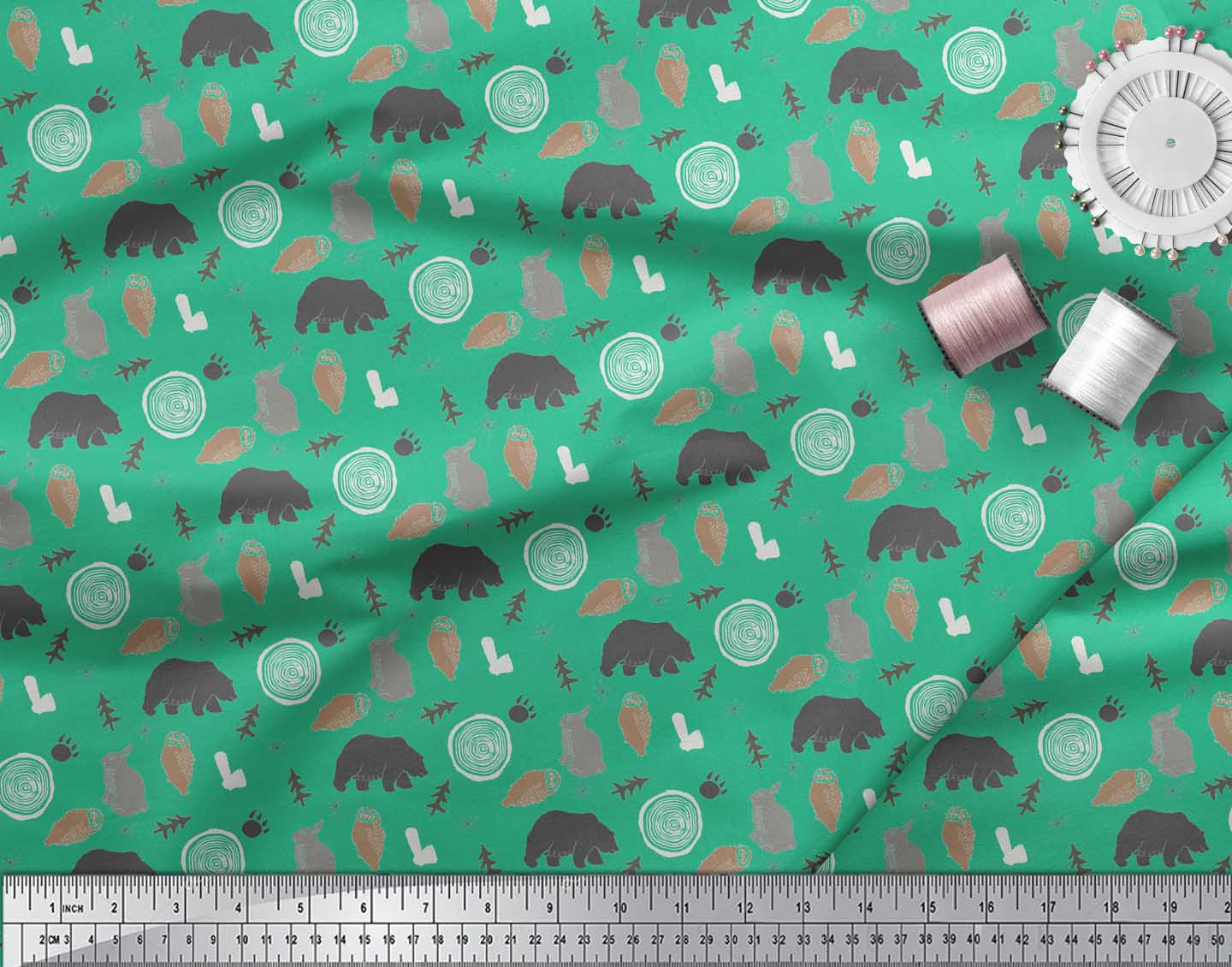 Soimoi-Green-Cotton-Poplin-Fabric-Wild-Life-Animal-Decor-Fabric-yOV thumbnail 4