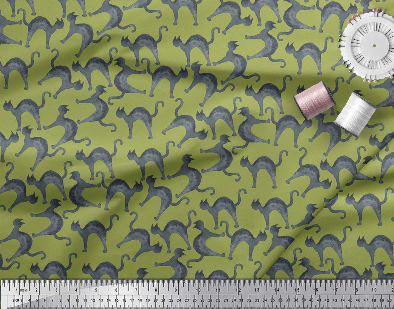 Soimoi-Green-Cotton-Poplin-Fabric-Cat-Animal-Printed-Fabric-1-Yard-mJp thumbnail 4