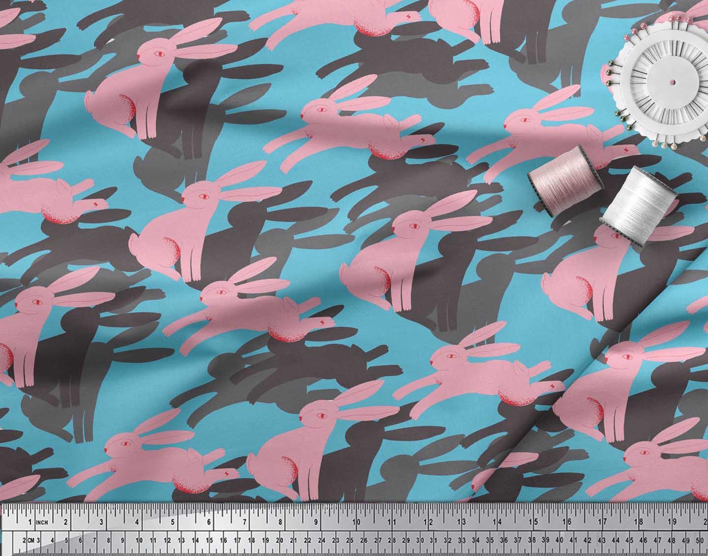 Soimoi-Blue-Cotton-Poplin-Fabric-Bunny-Rabbit-Animal-Print-Fabric-txW thumbnail 4